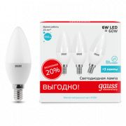 Лампа Gauss LED Elementary Candle 6W E14 4100K 3/40 (3 лампы в упаковке)