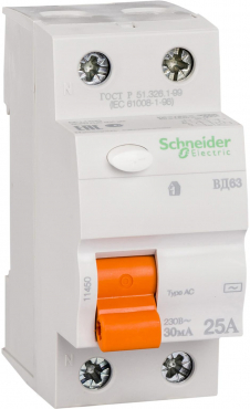 УЗО Schnieder Electric ВД63 2П 25A 30MA
