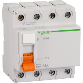 УЗО Schneider Electric ВД63 4П 63A 30MA